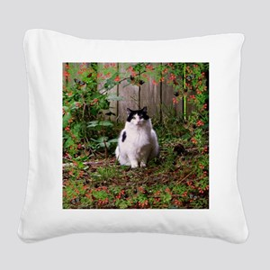 Fat Cat Art Square Canvas Pillow