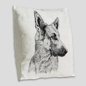 German Shepherd Burlap Throw Pillow