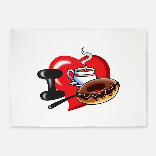 I Love Coffee and Donuts 5'x7'Area Rug