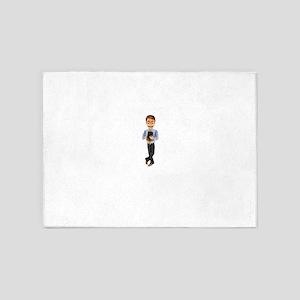 Cartoon Businessman Character with 5'x7'Area Rug