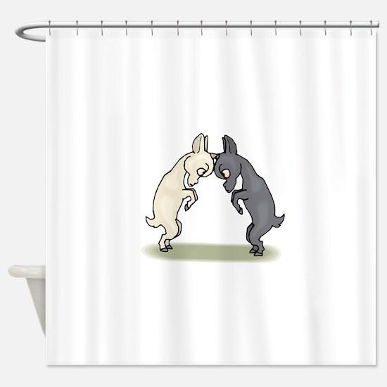 Goats Butting Heads Shower Curtain