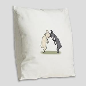 Goats Butting Heads Burlap Throw Pillow