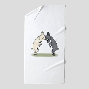 Goats Butting Heads Beach Towel