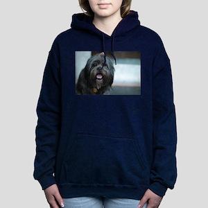 smiling lhasa type dog Women's Hooded Sweatshirt