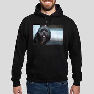 smiling lhasa type dog Hoodie (dark)