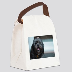smiling lhasa type dog Canvas Lunch Bag