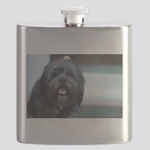 smiling lhasa type dog Flask