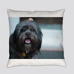 smiling lhasa type dog Everyday Pillow