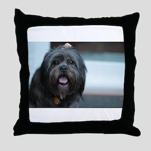 smiling lhasa type dog Throw Pillow