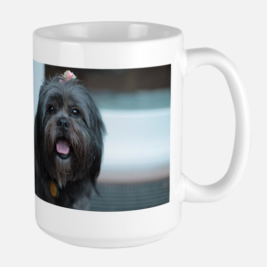 smiling lhasa type dog Mugs