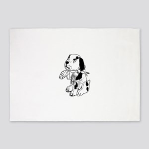 Sad dog with a broken leg 5'x7'Area Rug