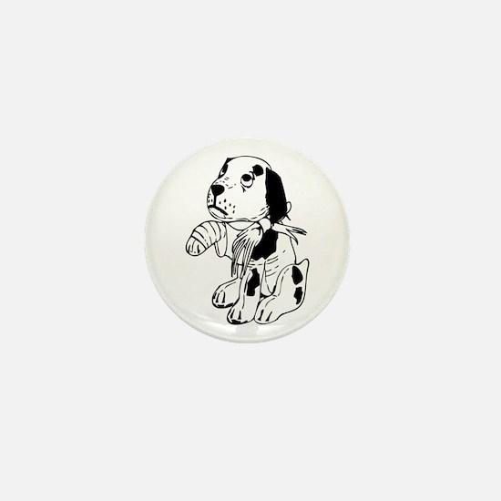 Sad dog with a broken leg Mini Button