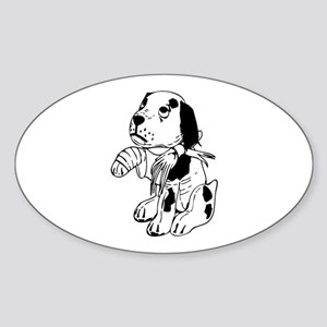 Sad dog with a broken leg Sticker