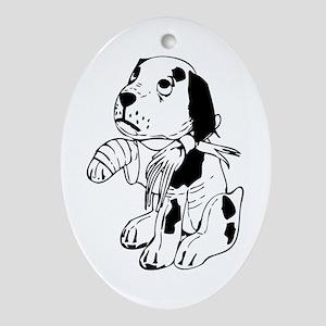 Sad dog with a broken leg Oval Ornament