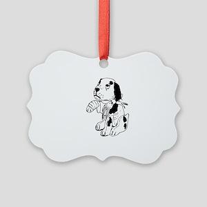 Sad dog with a broken leg Picture Ornament
