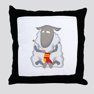 Sheep Knitting Sock Throw Pillow