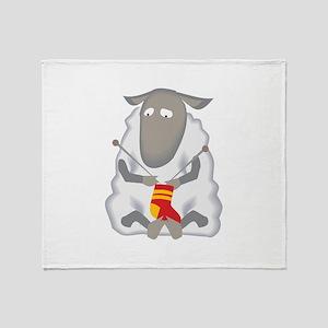 Sheep Knitting Sock Throw Blanket