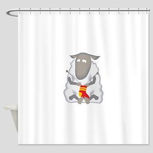 Sheep Knitting Sock Shower Curtain