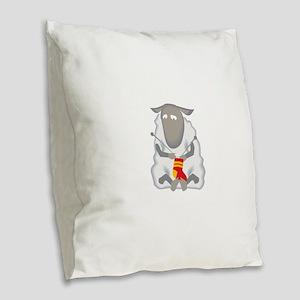 Sheep Knitting Sock Burlap Throw Pillow