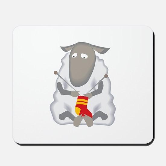 Sheep Knitting Sock Mousepad