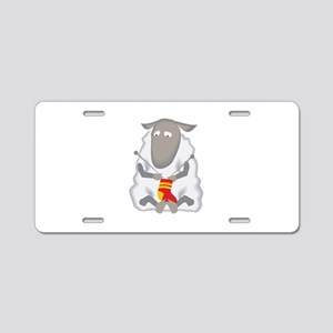 Sheep Knitting Sock Aluminum License Plate