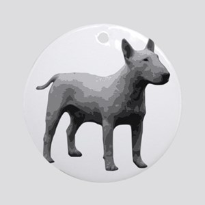 Bullterrier grayscale Round Ornament