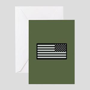 IR U.S. Flag on Military Green Background Greeting