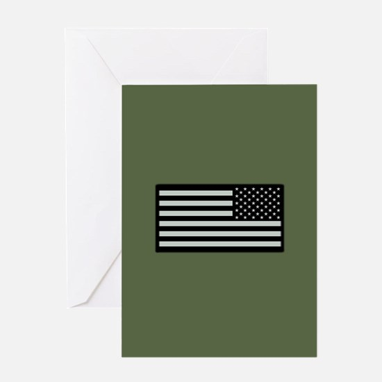IR U.S. Flag on Military Green Background Greeting