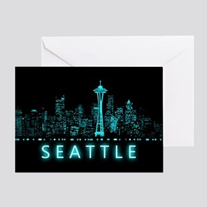 Seattle greeting cards cafepress digital cityscape seattle washingt greeting card m4hsunfo