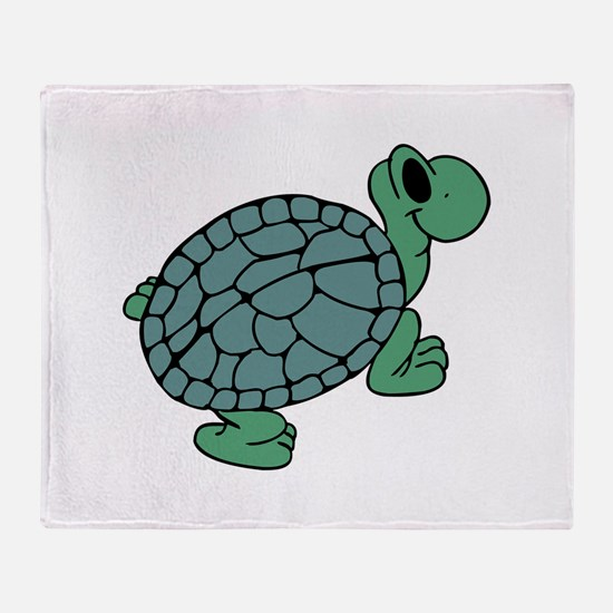 Green Turtle walking Throw Blanket