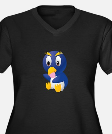 Angry bird cartoon with ball Plus Size T-Shirt