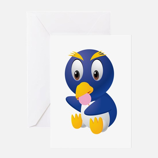 Angry bird cartoon with ball Greeting Cards