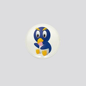 Angry bird cartoon with ball Mini Button