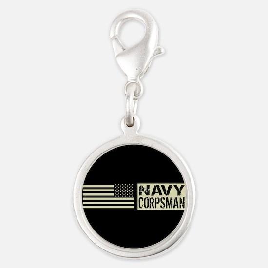 U.S. Navy: Navy Corpsman (Blac Silver Round Charm