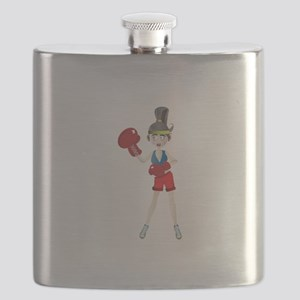 Ponytail lady with boxing gloves Flask