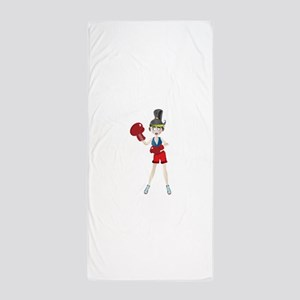 Ponytail lady with boxing gloves Beach Towel