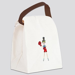 Ponytail lady with boxing gloves Canvas Lunch Bag