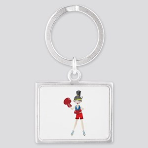 Ponytail lady with boxing gloves Keychains
