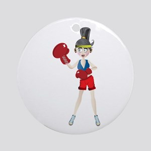 Ponytail lady with boxing gloves Round Ornament