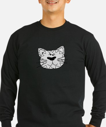 Cartoon Cat Face Outline Long Sleeve T-Shirt