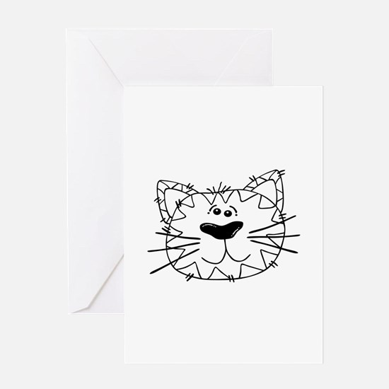 Cartoon Cat Face Outline Greeting Cards
