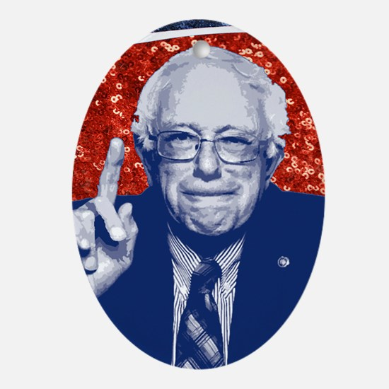 sequin vote for bernie sanders Oval Ornament