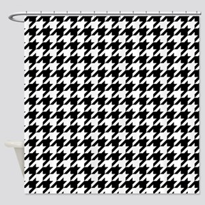 Black: Houndstooth Checkered Patter Shower Curtain