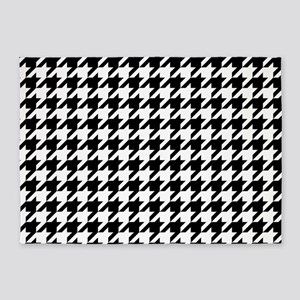 Black: Houndstooth Checkered Patter 5'x7'Area Rug