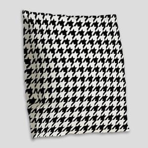 Black: Houndstooth Checkered P Burlap Throw Pillow