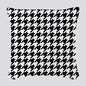 Black: Houndstooth Checkered P Woven Throw Pillow
