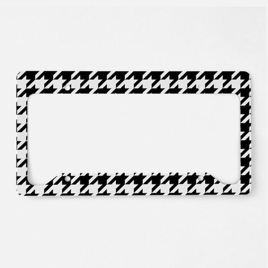 Black: Houndstooth Checkered License Plate Holder