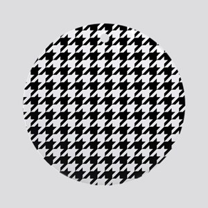 Black: Houndstooth Checkered Patter Round Ornament