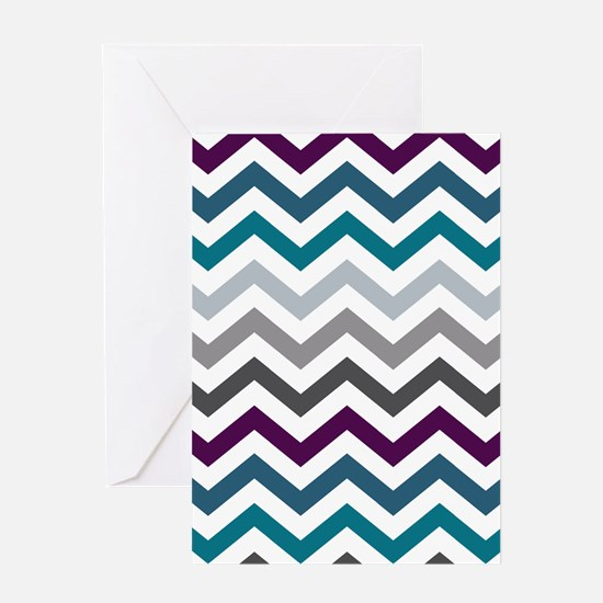 Purple Blue & Grey Chevron Pattern Greeting Card