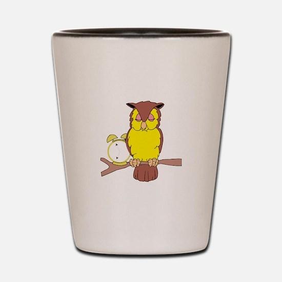 Owl with Alarm Clock Shot Glass